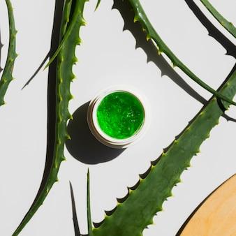 Liście aloesu z butelką kremu kosmetycznego