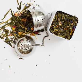 Liście herbaty i narzędzia