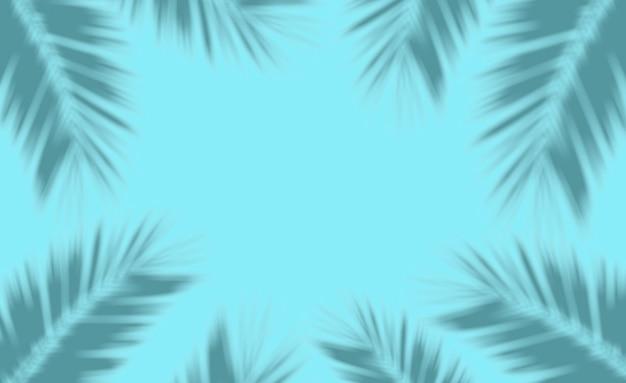 Liście palmowe tło. cienie tropikalnych liści palmowych na pustym kolorowym tle.