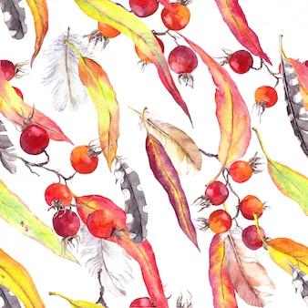 Liście, pióra, jagody. jesień wzór. akwarela w stylu vintage boho