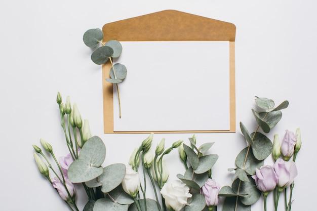List na dzień matki, eukaliptusa i eustoma na białym tle.