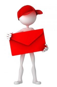 Listonosz trzyma kopertę.