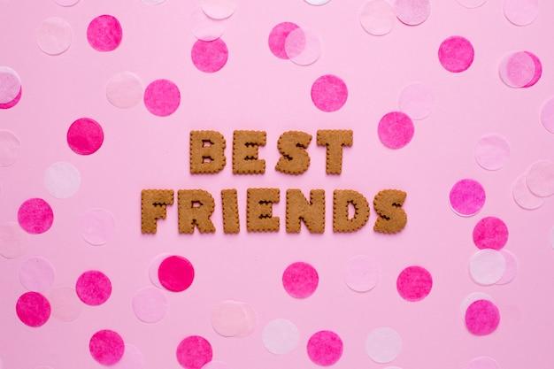 Listy ciasteczek najlepsi przyjaciele z konfetti na różowo