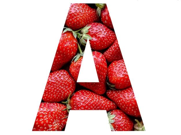 Litera a alfabetu angielskiego utworzona z tekstury truskawek. naturalny, użyteczny piękny alfabet dla twoich projektów.