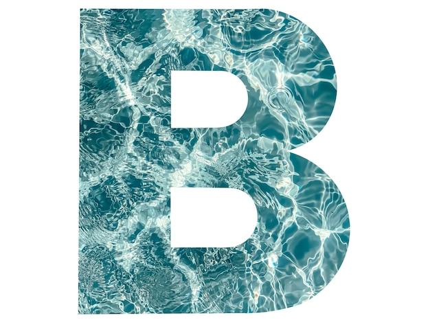 Litera b alfabetu angielskiego utworzona z tekstury wody. naturalny, użyteczny piękny alfabet dla twoich projektów.