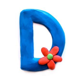Litera d alfabetu angielskiego z plasteliny