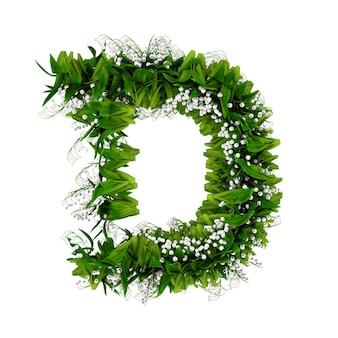 Litera d wykonana z kwiatów i trawy na białym tle. ilustracja 3d.