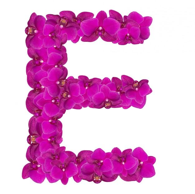 Litera e z płatków różowego kwiatu