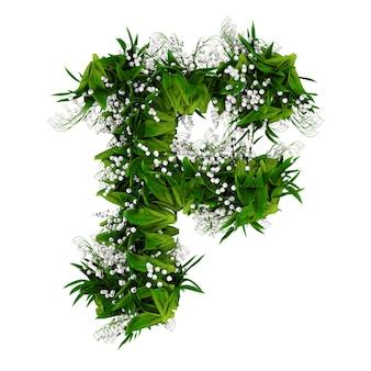 Litera f wykonana z kwiatów i trawy na białym tle. ilustracja 3d.
