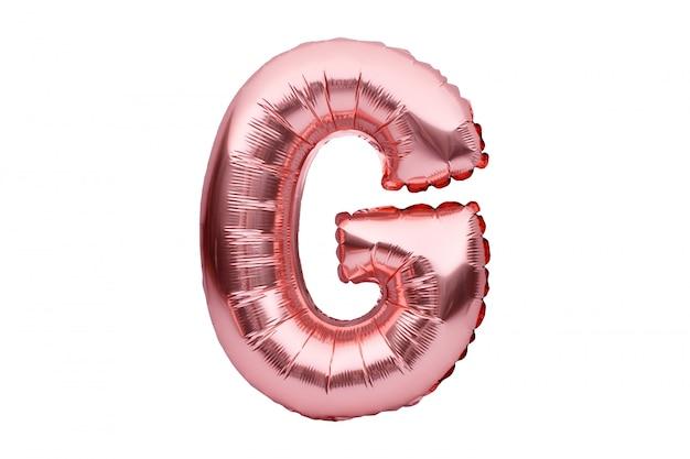 Litera g z różowego złotego nadmuchiwanego helu balonu na białym tle. balonowa czcionka w kolorze złotej różowej części pełnego zestawu alfabetu wielkich liter.
