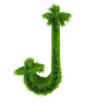 Litera j wykonana z kwiatów i trawy na białym tle. ilustracja 3d.
