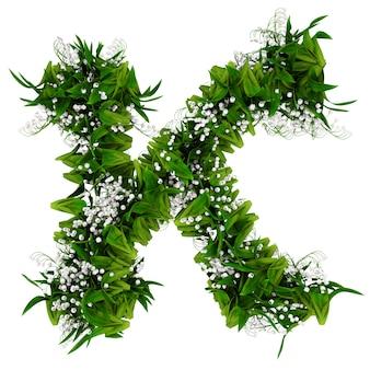 Litera k wykonana z kwiatów i trawy na białym tle. ilustracja 3d.