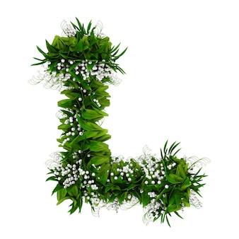 Litera l wykonana z kwiatów i trawy na białym tle. ilustracja 3d.
