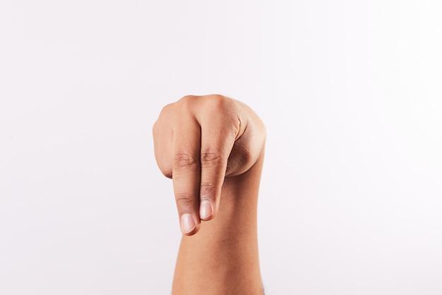 Litera n alfabetu języka migowego na białym tle