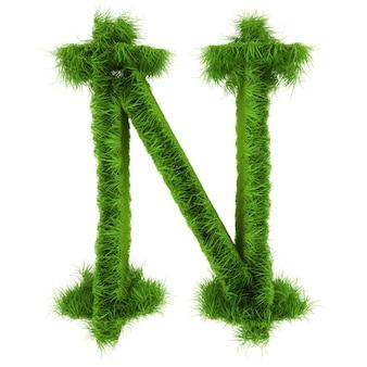 Litera n wykonana z kwiatów i trawy na białym tle. ilustracja 3d.
