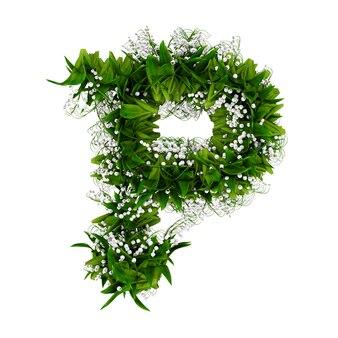 Litera p wykonana z kwiatów i trawy na białym tle. ilustracja 3d.
