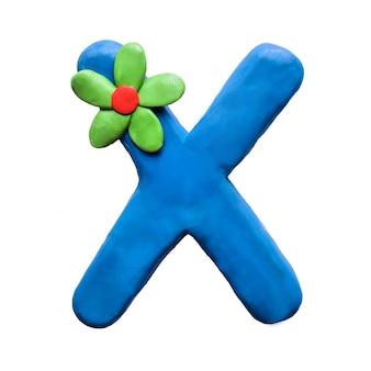 Litera x alfabetu angielskiego z plasteliny
