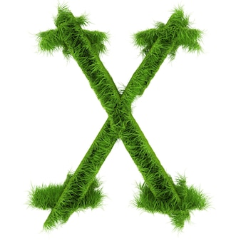 Litera x z kwiatów i trawy na białym tle. ilustracja 3d.