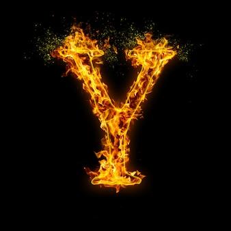 Litera y. płomienie ognia na czarnym, realistyczny efekt ognia z iskrami.