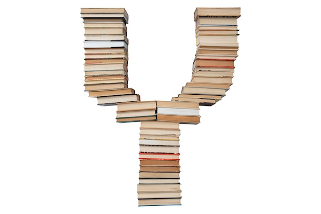 Litera y z książek na białym tle