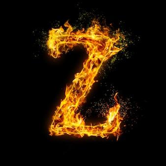 Litera z. płomienie ognia na czarnym, realistyczny efekt ognia z iskrami.