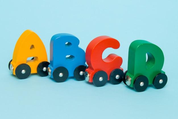 Litery a, b, c, d alfabetu kolejowego z lokomotywą.