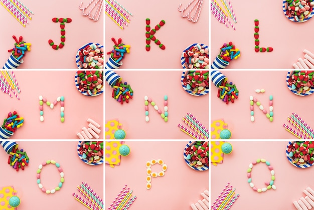 Litery alfabetu i cukierków