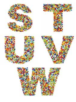 Litery alfabetu od s do w wykonane z kolorowych szklanych koralików na białym tle