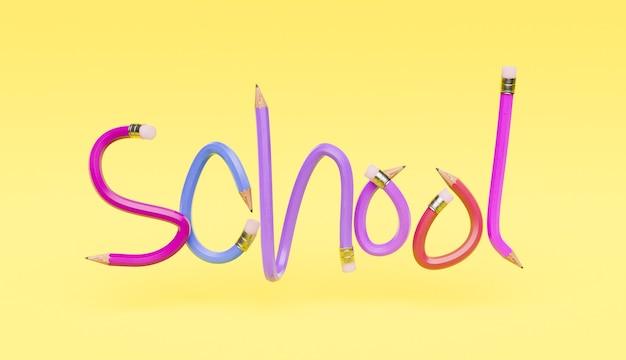 Litery ołówkowe ze słowem szkoła