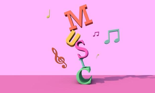 Litery renderowania 3d. koncepcja muzyczne tło