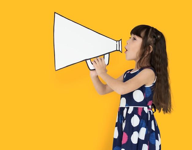 Little girl megafon pozytywne strzelanie