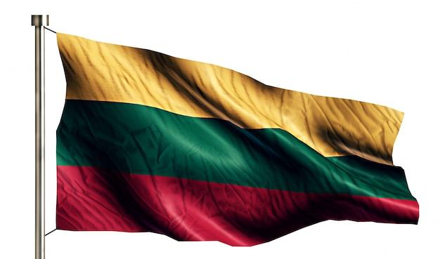 Litwa flaga narodowa pojedyncze 3d białe tło