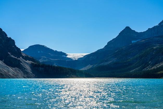 Lodowiec bow nad bow lake w lecie 2020 roku. park narodowy banff, canadian rockies, alberta, kanada.