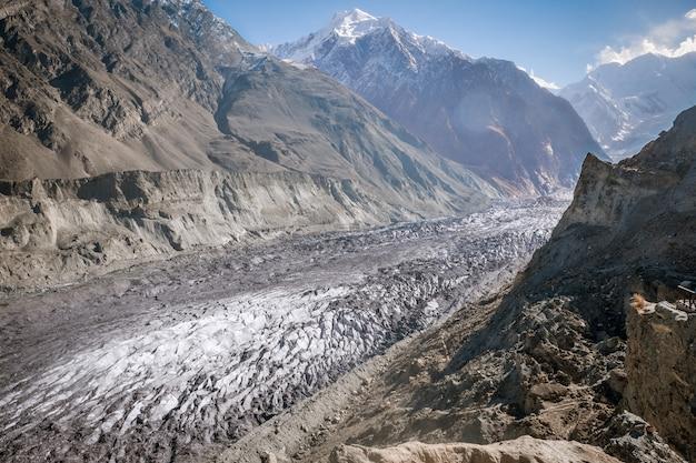 Lodowiec hopar lub lodowiec hopper porośnięty jest gruzem, głazami i błotem, dolina nagar.