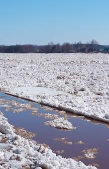 Lodowy dryf na rzece na wiosnę