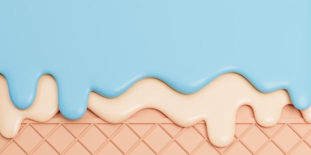 Lody miętowo-waniliowe stopione na waflu