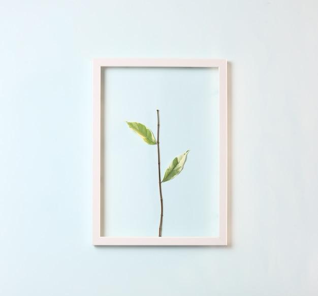 Łodyga z kilkoma liśćmi na pastelowym niebieskim tle