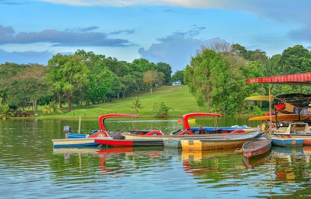 Łódź na jeziorze z zielonym tłem przyrody