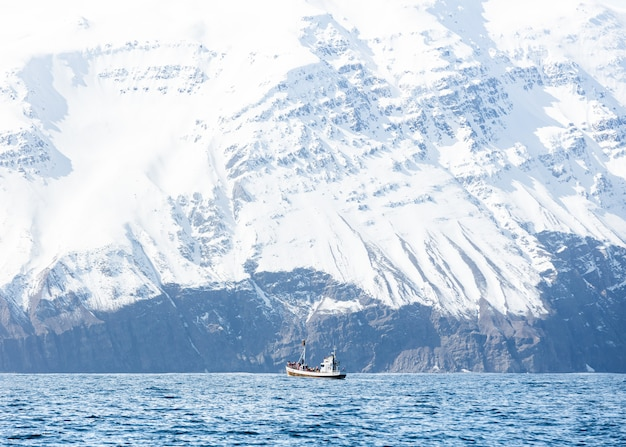 Łódź na morzu z niesamowitymi skalistymi, zaśnieżonymi górami
