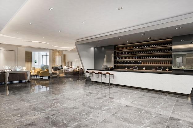Loft i luksusowy salon hotelowy z ladą