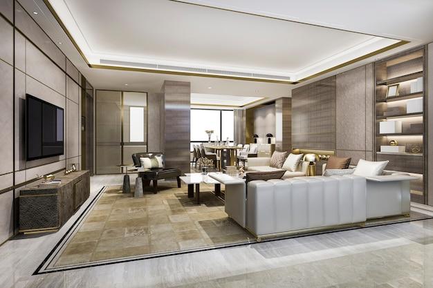 Loft luksusowy salon z półką na książki w pobliżu stołu jadalnego