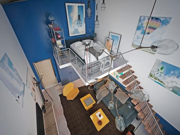 Loft to nastoletnia sypialnia na drugim poziomie z niechlujnym łóżkiem i mnóstwem dekoracji i obrazów.
