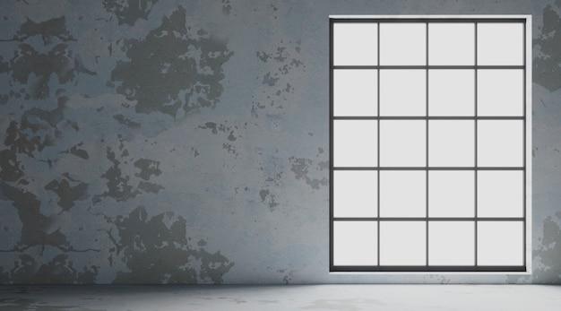 Loftowa ściana wewnętrzna z czarnymi oknami
