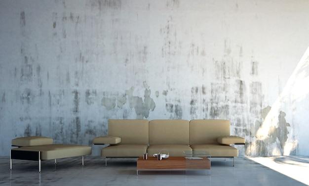 Loftowe wnętrze salonu i betonowa ściana w tle