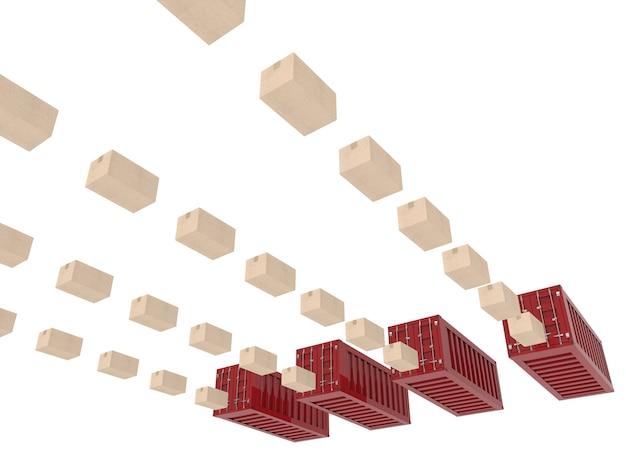 Logistyczna koncepcja biznesowa z kartonami i pojemnikiem