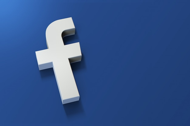Logo 3d facebook minimalistyczne z pustą przestrzenią