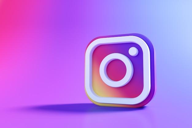 Logo 3d Instagram, Aplikacja Społecznościowa. Renderowanie 3d Premium Zdjęcia