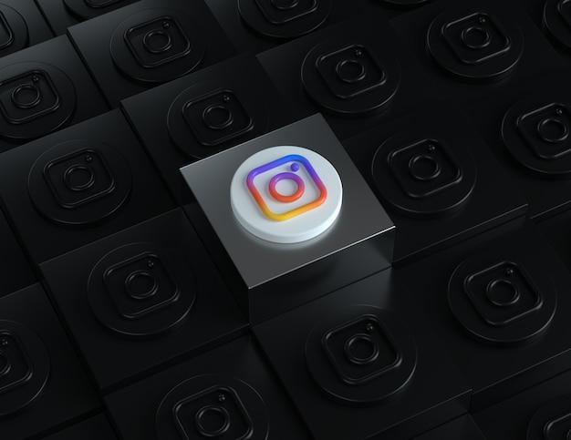 Logo 3d instagram na srebrnym stojaku z ciemnymi logo w tle