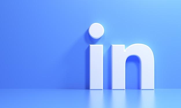 Logo 3d linkedin na niebieskim tle, aplikacja społecznościowa. ilustracja renderowania 3d