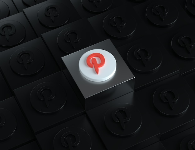 Logo 3d na pinterest na srebrnym stojaku z ciemnymi logo w tle